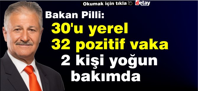 """Bakan Pilli: """"30'u yerel 32 pozitif vakaya rastlandı, 2 kişi yoğun bakıma alındı"""""""