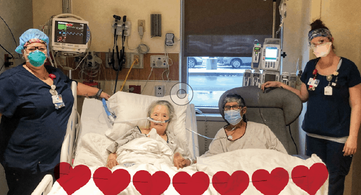 Covid-19 tedavisi gören 63 yıllık evli çift için hemşireleri romantik bir akşam organize etti