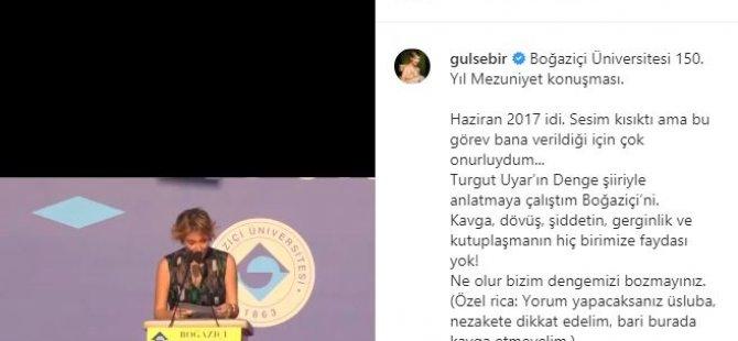 Gülse Birsel, Boğaziçi Üniversitesi'ndeki konuşmasını paylaştı: 'Ne olur bizim dengemizi bozmayınız'