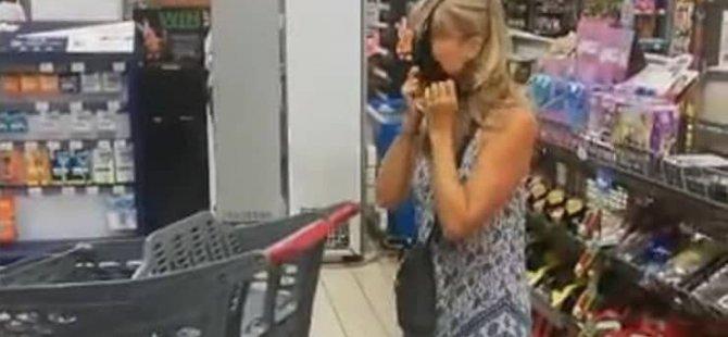 Markette maskesiz alışveriş yaparken görevli tarafından uyarılan kadın iç çamaşırını çıkarıp 'maske' yaptı