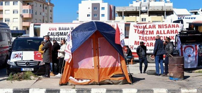 Taşımacıların Başbakanlık Önündeki Bir Hafta Önce Başlattığı Eylem Sürüyor