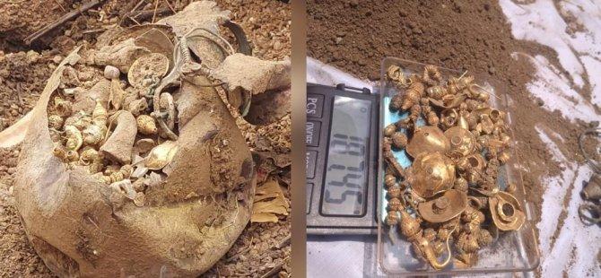 Ev inşaatı için yapılan kazıdan hazine çıktı