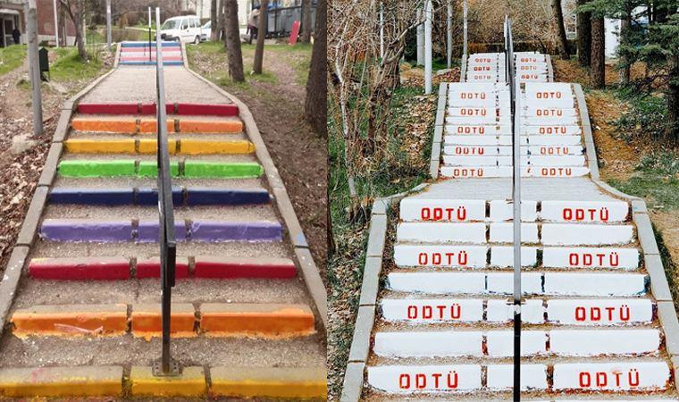 ODTÜ yönetimi, öğrencilerin gökkuşağına boyadığı merdivenleri bu sefer de beyaza boyadı