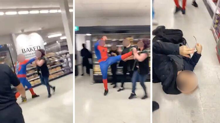 Markete giren 'Örümcek Adam' önüne gelene saldırdı: Altı yaralı (VİDEO)