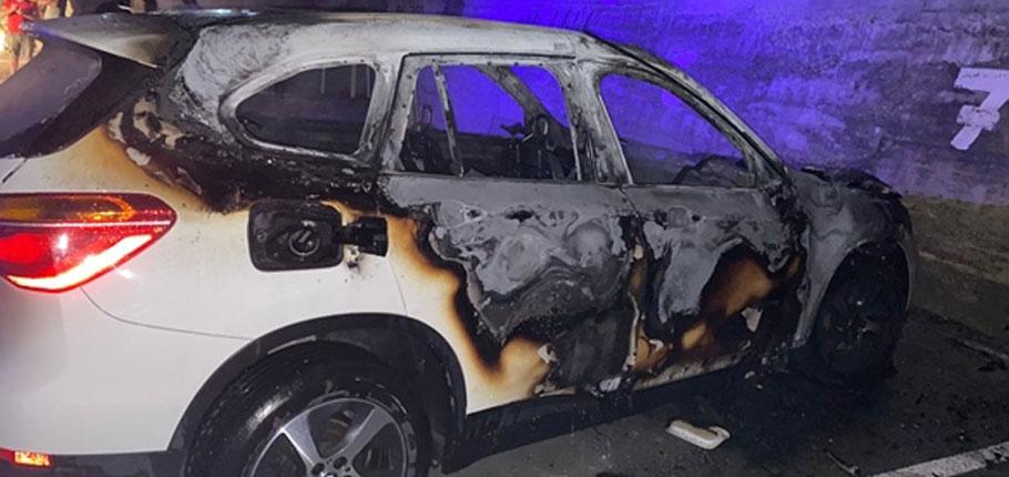 Boğazköy'de park halindeki araç ateşe verildi