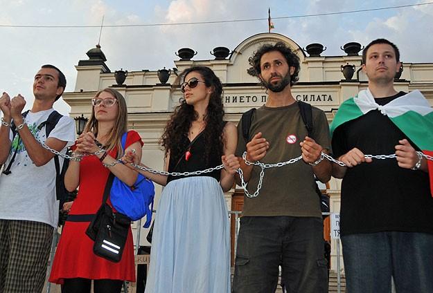 Bulgaristan'da zincirli eylem
