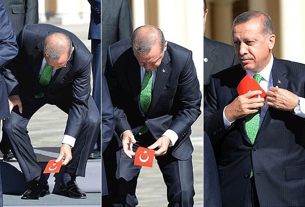 Başbakan Türk bayrağını yine yerde bırakmadı