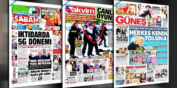 Sabah, Takvim ve Güneş'e göre; Can Dündar'a silahlı saldırı 'Tam bir tiyatro'!