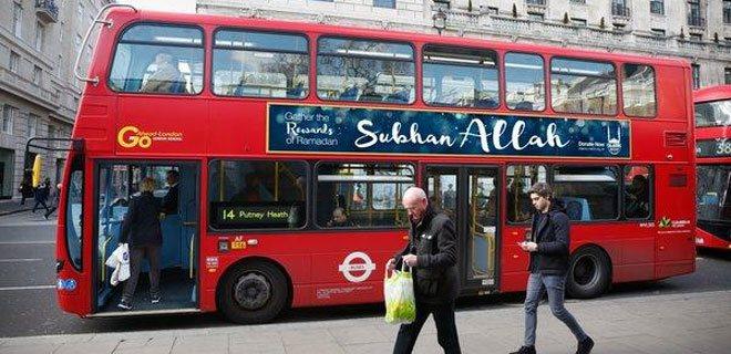 Londra'da otobüslere 'Subhan Allah' yazısı