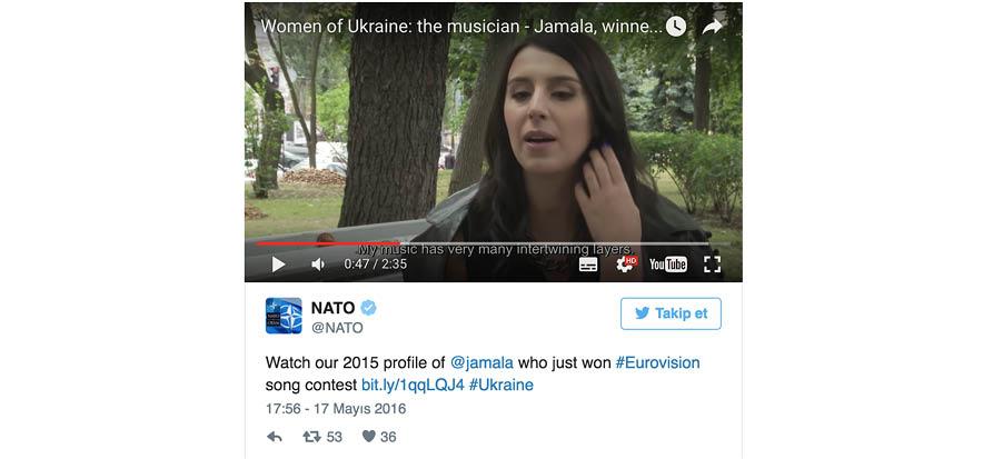 Eurovision birincisi Jamala, NATO tarafından da parlatılmış: İşte o video.