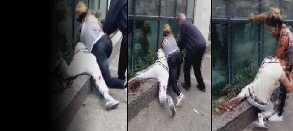 İki kadın arasında bıçaklı kavga kamerada