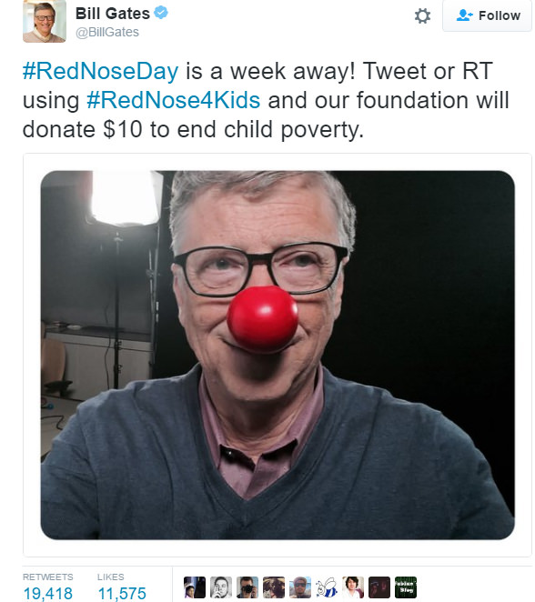 Bill Gates, retweet başına 10 dolar bağışlıyor