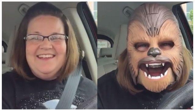 Chewbacca maskesi takan kadın viral oldu: İşte o video!