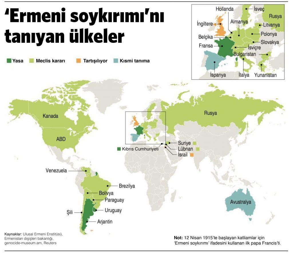 'Ermeni soykırımı'nı tanıyan ülkeler haritası