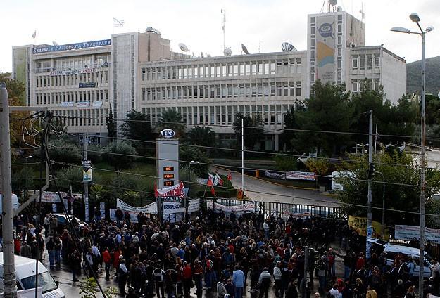 ERT'deki eyleme polis müdahalesi