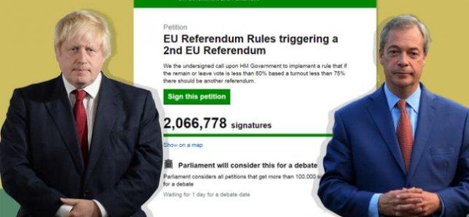 İngiltere'de ikinci AB referandum talebine 2 milyondan fazla imza