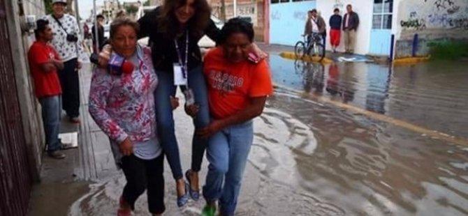 Meksika'da, selde kendini taşıtan muhabir kovuldu