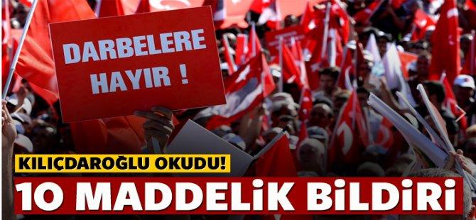 Kılıçdaroğlu'dan 10 maddelik Taksim bildirisi