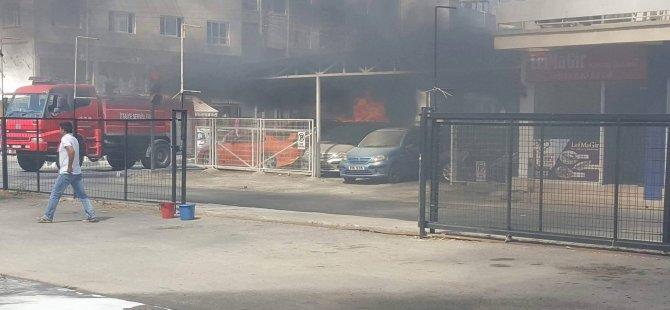 Son Dakika: Lefkoşa'da korkutan yangın, araçlar yandı!