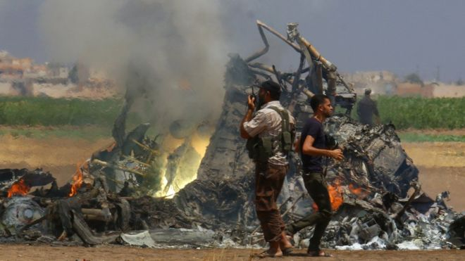 Suriye'nin kuzeyinde Rus helikopteri düşürüldü
