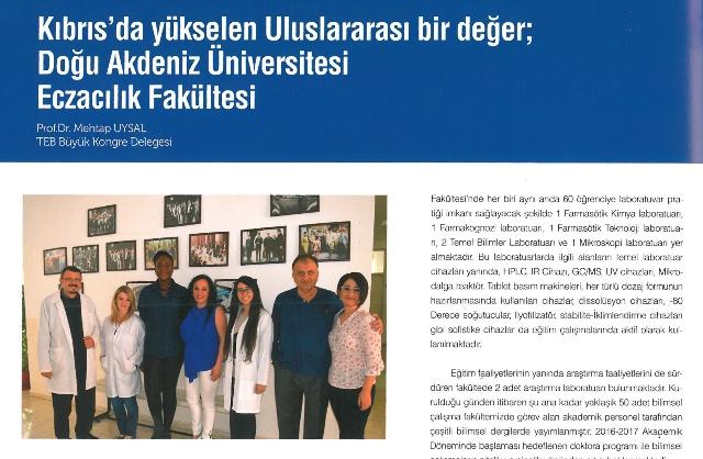 """DAÜ Eczacılık Fakültesi """"Doz"""" dergisi'nde"""