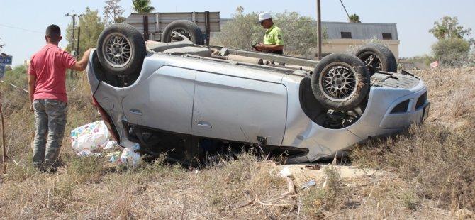 Gazimağusa'da kazayı ucuz atlattı...