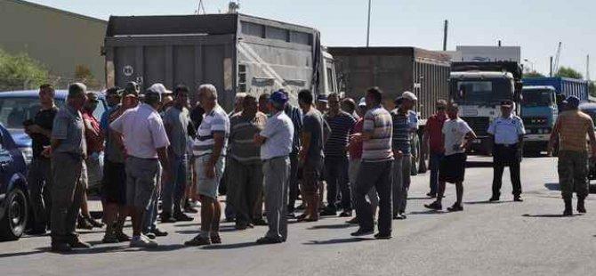 Kamyoncular Birliği, Mağusa'da eylem gerçekleştirdi