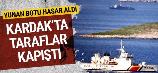 Kardak'ta büyük gerilim Yunan botu hasar gördü