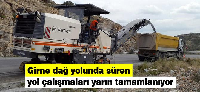 Girne dağ yolunda süren yol çalışmaları yarın tamamlanıyor