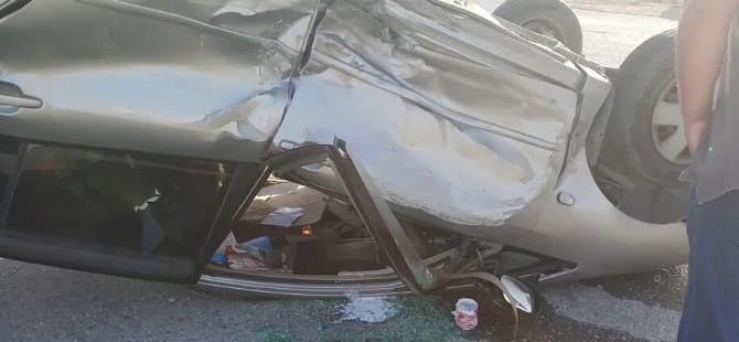 Ercan - İskele Anayolundaki kaza ucuz atlatıldı