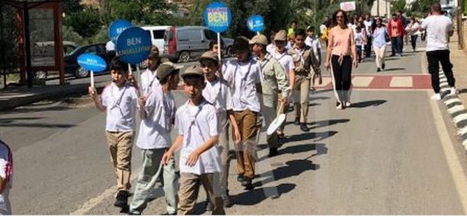 Trafikte farkındalık yaratmak amacıyla Lefke'de yürüyüş düzenlendi