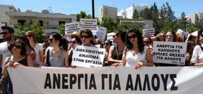Güney Kıbrıs'ta öğretmenlerin eylemi