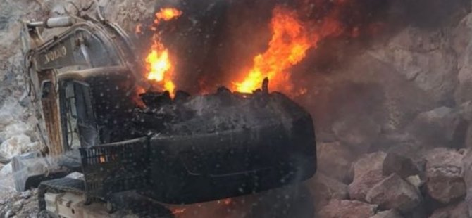 Markuj patladı iş aracı yandı!