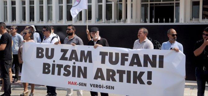 Hak-Sen ve Vergi-Sen Başbakanlık önünde protesto eylemi yaptı