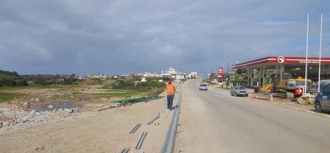 Yeşilköy petrol istasyonu önündeki yol yapımı tamamlandı, yol trafiğe açıldı