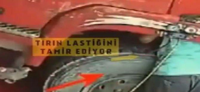 Tır'ın lastiği patladı, tamirci havaya uçtu (video)