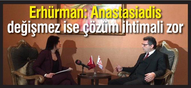 Erhürman: Anastasiadis  değişmez ise çözüm ihtimali zor