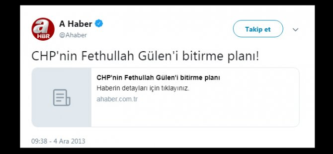 A Haber'in Gülen cemaatine siper olduğu haberi sosyal medyanın gündeminde