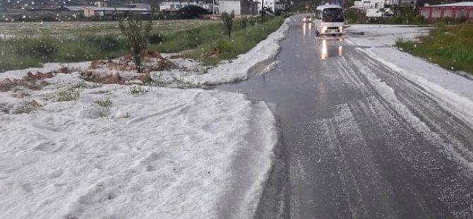 Karpaz'da Bafra bölgesi  beyaza büründü