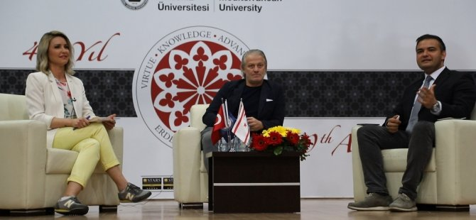 Ünlü futbolcu Tugay Kerimoğlu DAÜ'de öğrencilerle buluştu