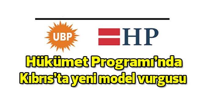 UBP-HP Hükümet Programı'nda Kıbrıs konusunda yeni model vurgusu