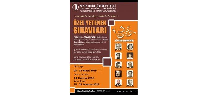 """YDÜ  """"Tiyatro Bölümü"""" Oyunculuk ve Dramatik Yazarlık Anasanat dallarına özel yetenek sınav kayıtları devam ediyor"""