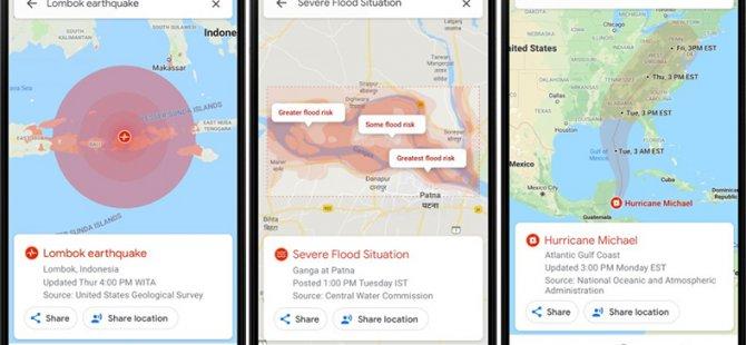 Google Haritalar Artık Doğal Afetler İçin Uyarıda Bulunacak