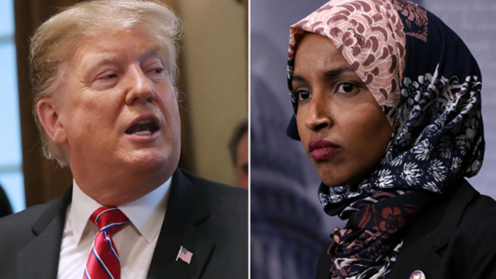 """Trump mitingde Somali doğumlu Temsilciler Meclisi üyesi Omar'ı hedef aldı, kalabalık """"Geri gönder"""" diye bağırdı"""