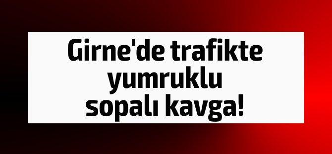 Girne'de trafikte yumruklu sopalı kavga!