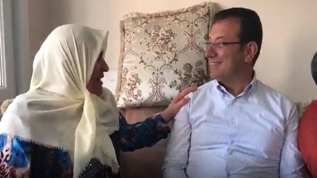 """İmamoğlu """"Sana oy vermem"""" diyen Mahzure teyzeyi ziyaret etti, kahkahalar havada uçuştu! (VİDEO)"""