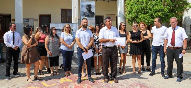 KTÖS Mağusa Alasya İlkokulu'nda basın açıklaması yaptı