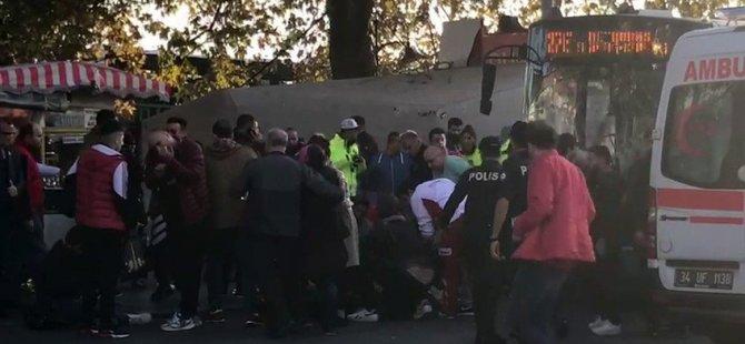 Beşiktaş'ta otobüs durağa daldı: Şöför tepkilerin üstüne 1 kişiyi bıçaklayıp denize atladı