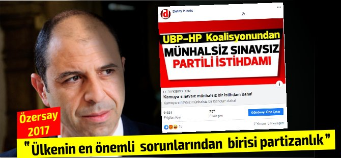 HP Parti Meclis üyesi istihdamı... Özersay'ın 2017 yılındaki açıklamalarını yeniden gündem getirdi!