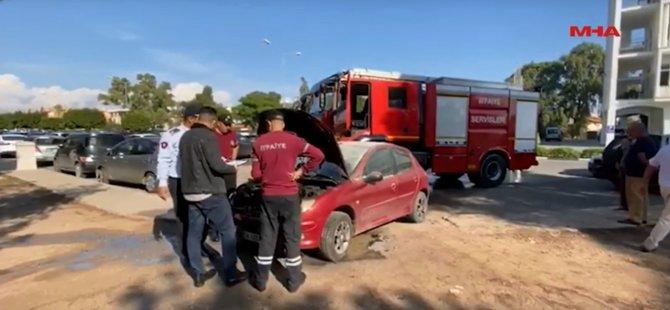 Mağusa'da araç park yerinde yandı! (Video)